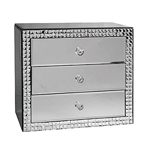 Luxurious Large Mirrored Glass Jewellery Box with Shimmering Crystal Mosaic Surround and Three Soft Velvet Lined Drawers - Store your Jewellery in Style! A Stunning Addition to any Dressing Table