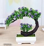 LOF-fei Künstliche Pflanzen Topfpflanzen Dekoration Büro Esstisch Zubehör,grün lila Quadrat Keramik Blumentöpfe