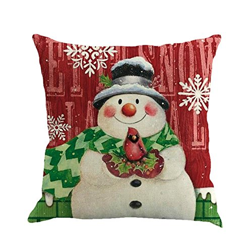 Hot Sale! Kavitoz Christmas Cushion Cover, Printing Dyeing Sofa Bed Home Decor Pillow Cover (A)