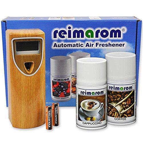 Reimarom Duftspender Set inklusive Lufterfrischer Wood mit zwei Raumdüften zur Umsatzsteigerung mit Kaffeeduft