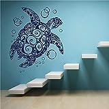 Meeresschildkröte und Blase Vinyl Wand Applique Marine Life Style Badezimmer Wohnzimmer dekorative Kunst Wandbild h1 42x43cm
