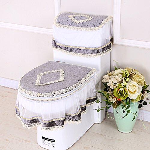 mksfy WC-Sitz Cover Lace Wasser WC-Stoff WC-3-teilig Anzug, Gold Diamant Samt grau (3-teiliges Samt-anzug)