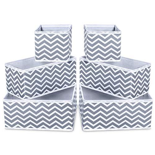 AOIEORD 6 Stück Aufbewahrungsbox Stoff Set faltbar Unterwäsche Socken Organizer Ordnungsbox Faltbox Stoffbox für Schubladen Ordnungssystem (2 Groß & 2 Mitte & 2 kleine)