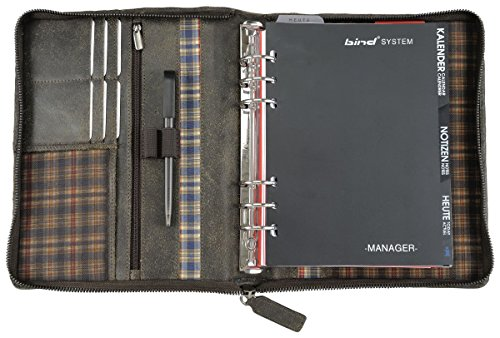 Bind 15503 - Systemplaner Mappe aus split washed Leder in Vintage Optik, braun, ca. 24,5 × 20 × 4 cm, mit A5 Terminkalender 1W=2S (jeweils ab September mit aktuellem Folgejahr)