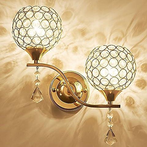 Luniquz LED-Wandleuchte aus Kristallglas, schlichter Stil, LED-Wandleuchte, Moderne Deko für Schlafzimmer Flur Nachttisch Bad Or-Double Tête