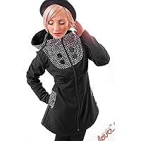 Mantel Softshell Schwarz Chevron schwarz weiß