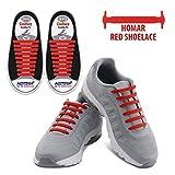 Homar No Tie Lacci per scarpe per bambini e adulti - Impermeabile in silicone elastico piatto Laces Athletic scarpa da corsa con multicolore per Scarpe Sneakerboots bordo e scarpe casual (Adult Size Red)