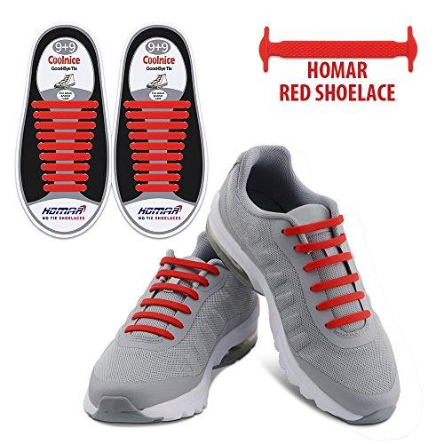 Homar Schnürsenkel Reflektierende Kein Tie - Best in Alternative Shoelaces - Sicherheitsschmutzfester wasserdicht Gummi Shoelaces Perfekt für Sneaker Stiefel Oxford und Freizeitschuhe - Red (Spitzen-stretch-stiefel)
