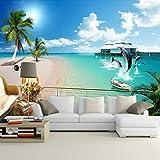 BHXINGMU 3D-Hintergrundbilder Benutzerdefinierte Fototapeten Strände Und Delfine Schlafzimmer Wandbilder Tapetenaufkleber 50Cm(H)×90Cm(W)