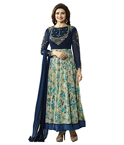 H Wine Blue Embroidery Georgette Anarkali Semi-Stitched Suit
