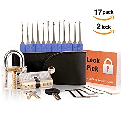 17 Teiliges Metall Lockpicking Set mit 2 Transparentem Übungsschlössern +Anleitung+ Ledertasche | Das perfekte Dietrich Set für Schlosserei, Anfänger und Profisrleicht