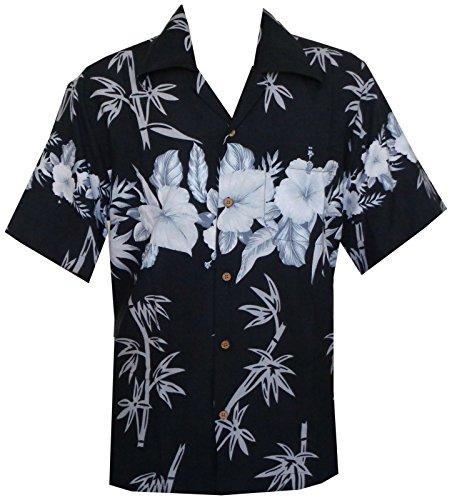 Alvish Herren Button-down Freizeit-Hemd Gr. X-Large, Schwarz - Schwarz (Mens Hawaiian Camp-shirt)