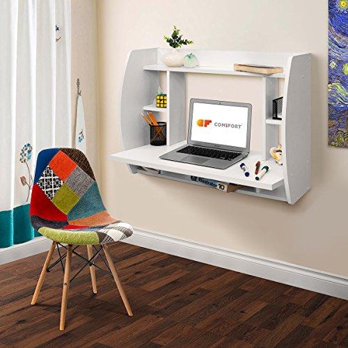 Comifort T07B - esa Escritorio de Pared Comifort Mesas Ordenador Colgantes 82x39x60 cm Color Blanco