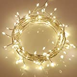KooPower Outdoor Fairy String Lights with 100 Warm White LEDs on Sliver Copper Wire (Remote & Timer, IP65 Waterproof)