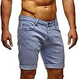 LEIF NELSON Herren Jeans Shorts LN1397; W31; Baby Blue