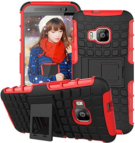 Preisvergleich Produktbild Nnopbeclik Huawei P8 Lite Hülle,  Dual Layer Rugged Armor stoßfest Handy Schutzhülle Silikon Tasche für Huawei P8 Lite - Rot + 1x Display Schutzfolie Folie