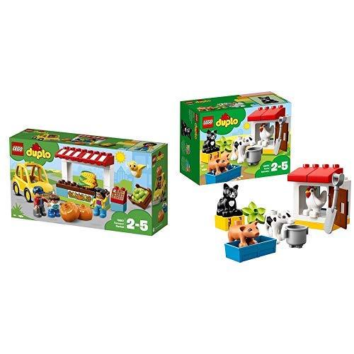 LEGO Duplo 10867 - Bauernmarkt Große Bausteine &  Duplo 10870 - Tiere auf dem Bauernhof, Lernspielzeug
