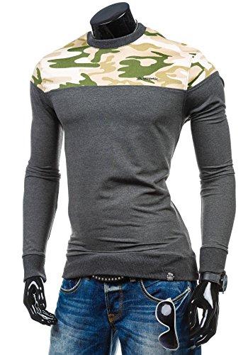 BOLF Herren Sweatshirt Langarmshirt Pullover Sweatjacke Pulli Camo Mix 1A1 Motiv Anthrazit_0432