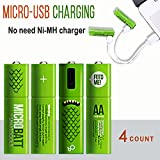 Smartoools Smartoools AA& AAA Rechargeable Battery Ni-MH NiMH By Micro USB Rechargeable Pre-Charged Batteries For ToysGame ControllerWireless Mouse Keyboard Free Cable Included (4 Count) (AA - 4 Count)