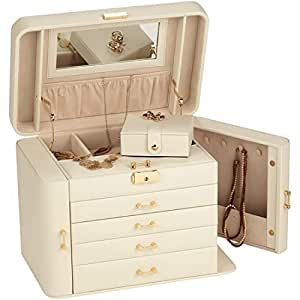 Extra Large Empress Jewellery Box / Jewel Case in Cream Bonded Leather by Mele & Co