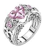 DAY.LIN Ringe Für Damen Ring Damen Der Herr Der Ringe Silber natürliche Rubin Edelsteine Birthstone Braut Hochzeit Engagement Herz Ring (Rosa, 16mm)