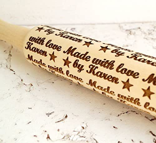 Embossing Rolling Pin Personalized Rolling Pin Made With Love By