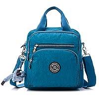 Fancybox Multifunction Water Resistant Nylon Top Handle Handbag Crossbody Satchel Purse Backpack (Sea blue)