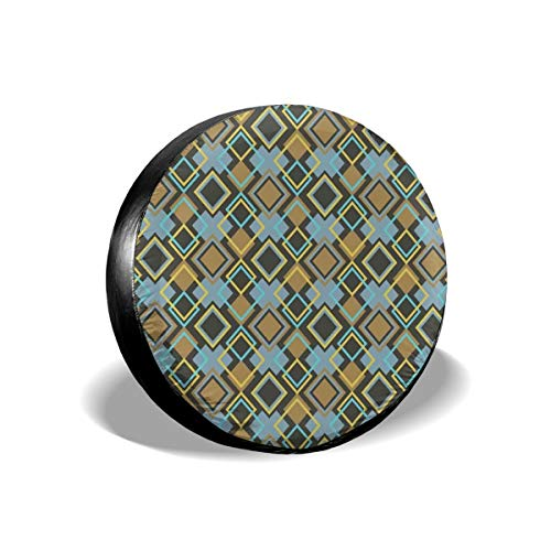 Usicapwear Tire Cover Tire Cover Wheel Covers,Abstract Rhombuses with Bullseye Pattern Modern Mosaic Tile Design Vintage Theme,for SUV Truck Camper Travel Trailer Accessories 16 inch -