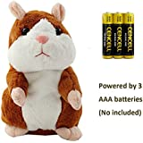 Talking Hamster Repeats What You Say Plush Interactive Toy, Talking Record Mimics Plush Animal Toy Electronic Pet Buddy Hamster Gift For Kids Children Christmas (Brown, Talking Hamster)