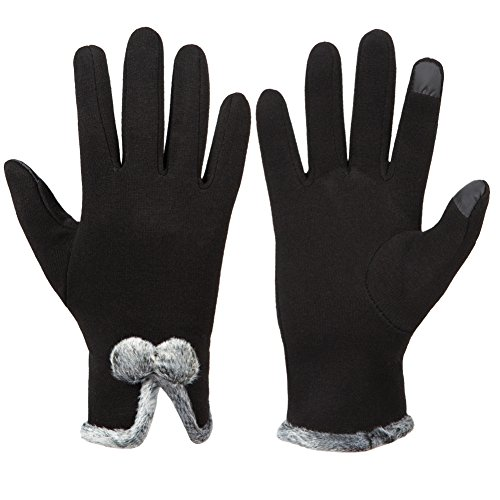 GLOUE Damen Touch Screen Handschuhe Kaschmir Warm Winter Handschuhe Innen Outdoor Fahrradhandschuhe Motorradhandschuhe Mountainbike Trend Handschuhe Schwarz, Rot, Grau (G-B)