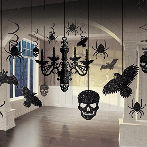 Großes 3D Dekorations-Set * HALLOWEEN PARTY * für Horror-Party mit 17 Teilen // mit 3D-Kronleuchter // Deko Party Mottoparty Motto Chandelier Decorating Kit Glitter Glitzer Rabe Spinne Totenkopf (Glitter Kit Kronleuchter)