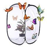 OviTop Habitat Käfig Klappbar Schmetterling und Insekt Habitat Käfig Mesh Terrarium Pop-up -Weiß + Schwarz M