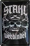 Stahl verbindet - Biker - Motorrad 20x30 cm Deko Blechschild 847