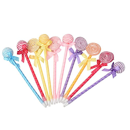 Cartoon Ballpoin, luversco 100 niedliche Runde Lollipop Drücken Classic Cartoon Gel Pen...