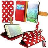 Emartbuy® Samsung Galaxy Alpha SM-G850 Brieftaschen Wallet Etui Hülle Case Cover aus PU Leder Polka Dots Rot Weiß Mit Kreditkartenfächern