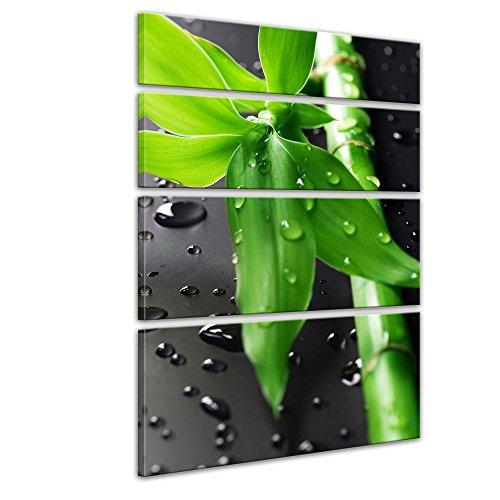 Kunstdruck - Frischer Bambus - Bild auf Leinwand - 120x180 cm vierteilig - Leinwandbilder - Geist & Seele - asiatisch - Glücksbambus - Gras mit Wassertropfen