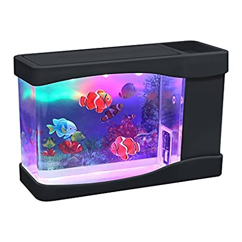 Lightahead® Mini aquarium avec poissons artificiels, bulles et LED multicolores