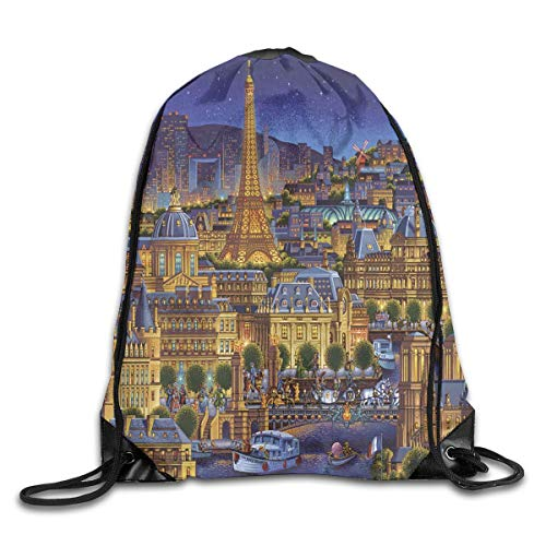 uykjuykj Tunnelzug Rucksäcke, Drawstring Backpack Bag Paris City of Lights Rucksack for Gym Travel Color 07 Lightweight Unique 17x14 IN