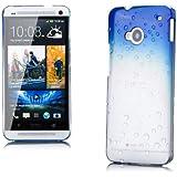 iCues HTC One M7 |  Wassertropfen Case Blau | [Display Schutzfolie Inklusive] Transparent Klarsichthülle Durchsichtig Klare Klarsicht Schutzhülle Hülle Cover Schutz
