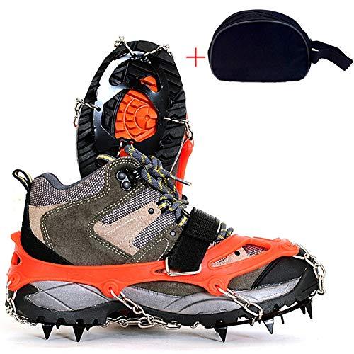 OUTEC Traction Ice Cleat Spikes Steigeisen, mit 12 Spikes Edelstahlspikes und strapazierfähigem Silikon, Wanderstiefel auf EIS- und Schneegrund, Mountian,M(orange) -