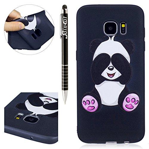 SainCat Karikatur Relief Silikon Hülle Transparent Handyhülle Gel Schutzhülle Ultra Slim Dünn Weichem Handytasche Flexibel TPU Schutz Case Tasche Etui Bumper Schale für Samsung Galaxy S7 Edge (Panda) -