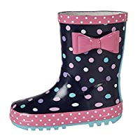Stormwells Girls Bow Trim Waterproof Wellington Boots