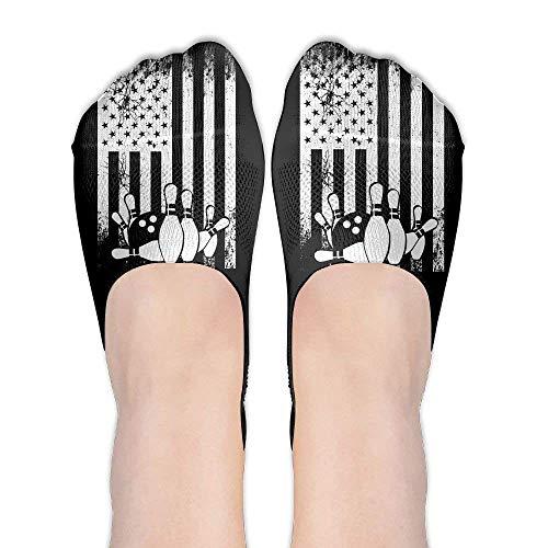 Doormat-bag Retro Bowling Flag Women Performance Comfort Fit No-Show Socks.