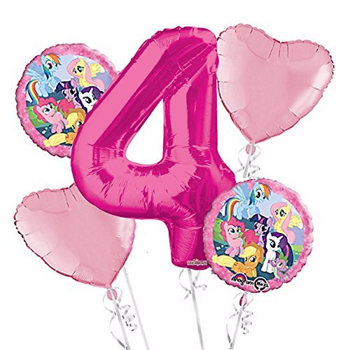 Pink Pony Supplies Party (My Little Pony Balloon Bouquet 4th Birthday 5 pcs - Party Supplies Pink by Anagram)