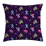 pigyear888 Constellation Throw Pillow Cushion Cover, Colorful Astronauts and Planets with Moons Abstract Solar System Illustration, Decorative Square Accent Pillow Case, 18 X 18 Inches, Multicolor