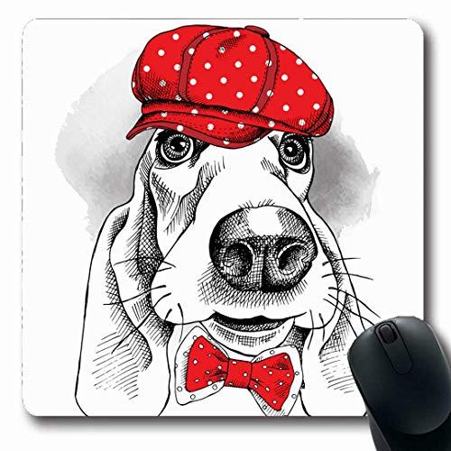 Luancrop Mousepads Hund Basset Hound Red Cap Uniform Bogen Charakter Kreis Kostüm Cute Design rutschfeste Gaming Mouse Pad Gummi Längliche Matte (Cute Mouse Kostüm)