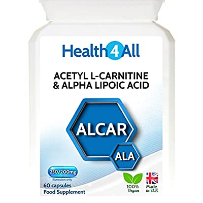 Health4All Acetyl L-Carnitine & Alpha Lipoic Acid 250/200mg | 100% VEGAN | Free UK Delivery | ALCAR ALA capsules