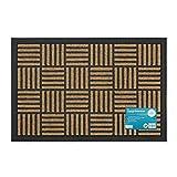 JVL-Viena con raspador, Puerta de Entrada de Goma Resistente Mat-Squares, 40x 60cm, 100% Polipropileno, marrón, 40x 60x 1cm