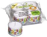 Smart-Planet® Kerzen Ambiente - 4 große ECO Teelichter XXL in Transparenter Hülle mit Blumen Motiv Nachfüllbar
