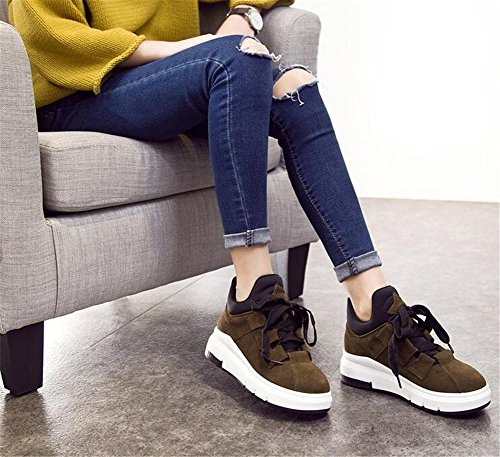 Scarpe da donna Inverno Casual Suede Lace Up Platform Fitness Walking Calzature Ankle Flat Sneakers Office Black Khaki